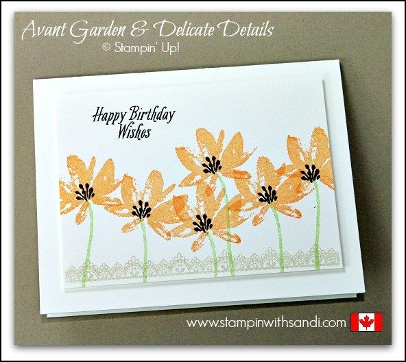 Avant Garden and Delicate Details single peach card by Sandi at stampinwithsandi.com