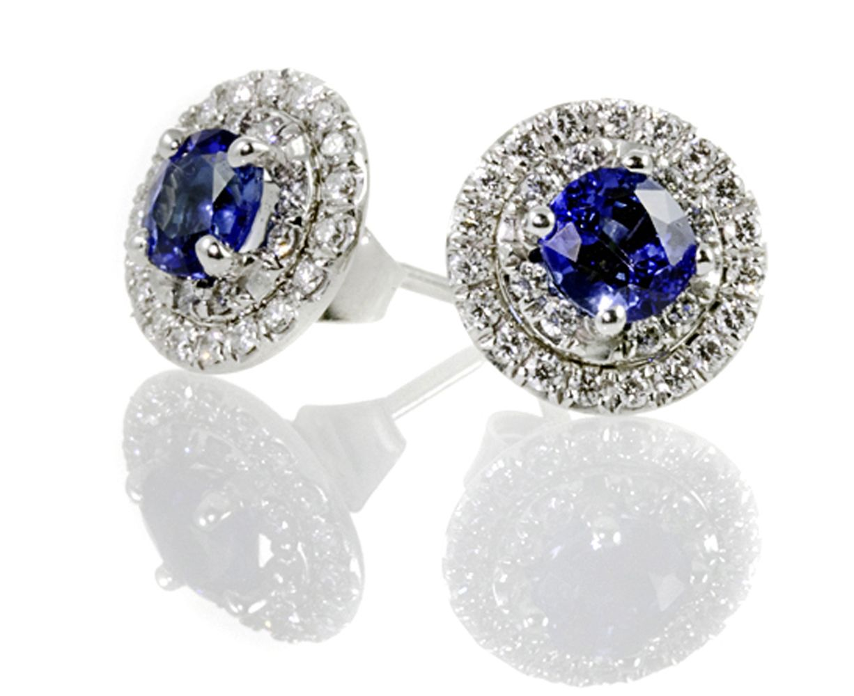 Blue Sapphire Diamond Stud Earrings See More Amazing Jewelry At  Diamondscape! #jewelry