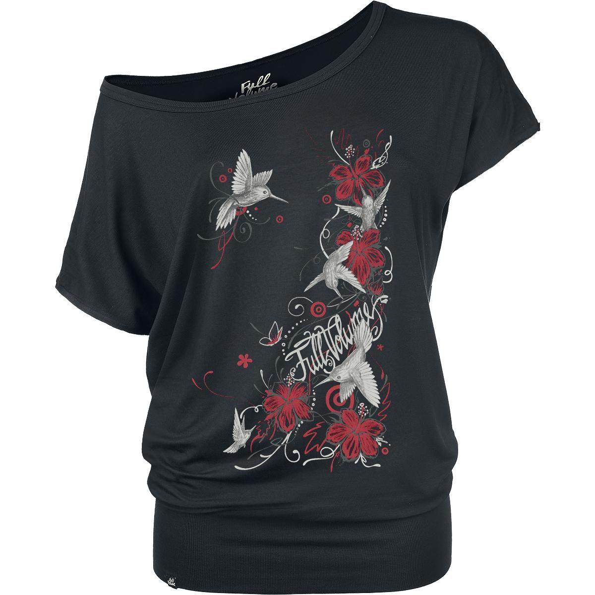 Full Volume by EMP:n hieno naisten Hibiscus Colibri -T-paita, jossa on leveä resori helmassa ja suuri etupainatus.