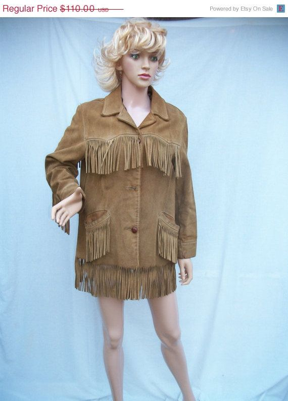 On Sale 70s Suede Fringed Jacket Ladies size by gottabvintage, $77.00