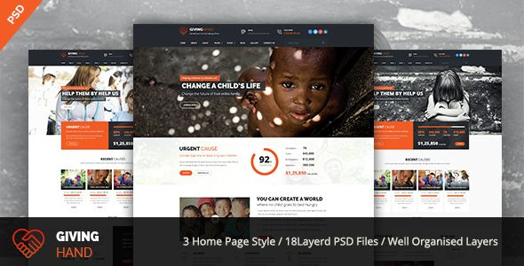 GIVINGHAND - Charity \ Fundraising PSD Template  GivingHand is - ngo templates