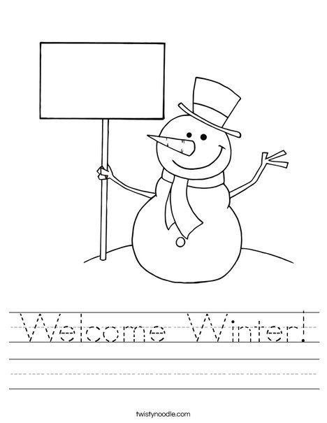 welcome winter worksheet twisty noodle work sheets pinterest welcome winter winter and. Black Bedroom Furniture Sets. Home Design Ideas