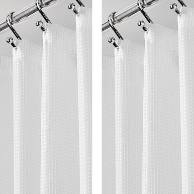 Mdesign Stall Size Waffle Weave Shower Curtain 54 X 78 White Pack Of 2 Fabric Shower Curtains Curtains Hotel Shower Curtain