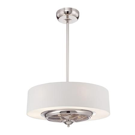 Chrome and cream drum shade ceiling fan