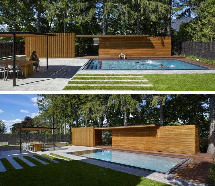 moderne Gartengestaltung mit Pool und Essbereich | Pooldesign ...