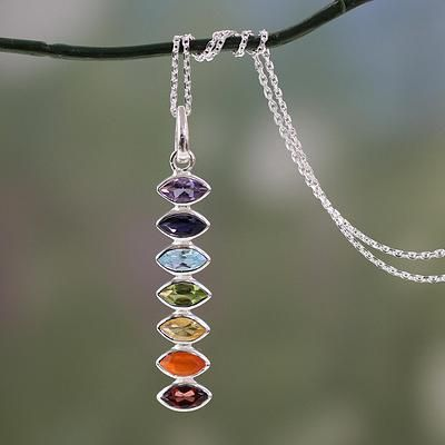 Multigem pendant necklace, 'Chakra Balance' - Indian Seven-Gemstone Chakra Necklace in 925 Sterling Silver