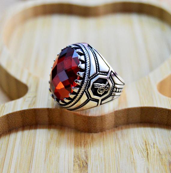 Mens Handmade Ring Turkish Handmade Ruby Ring Cubic Zircon