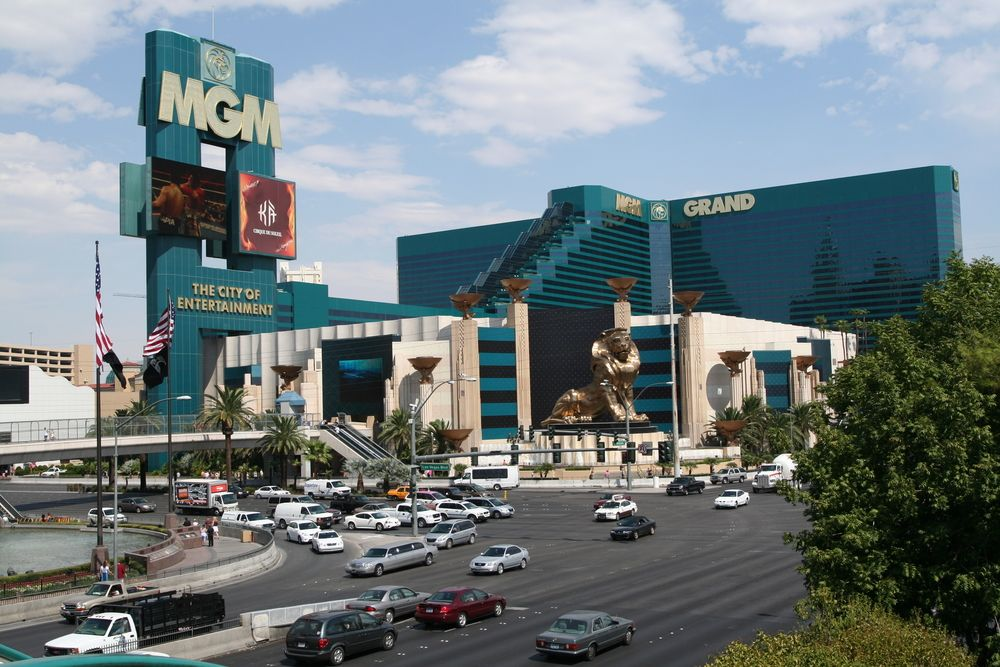 Street view of The MGM Grand Hotel and Casino located on
