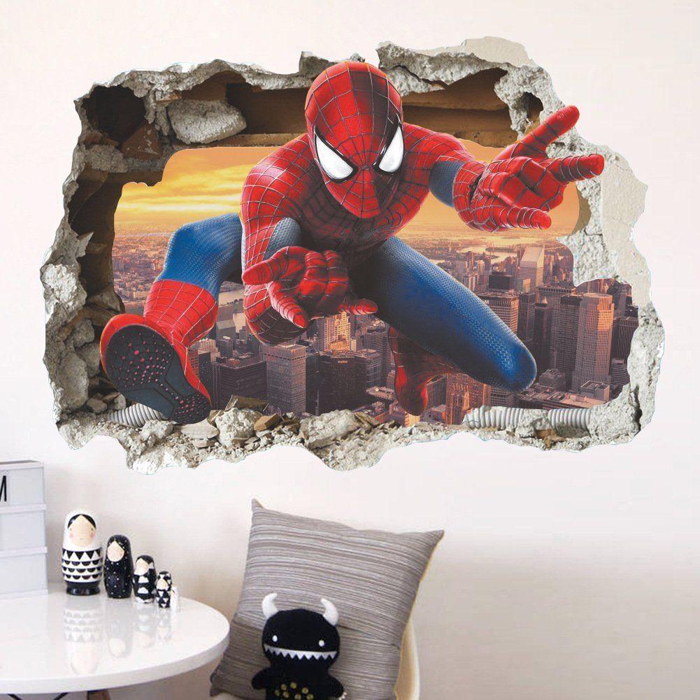 Spiderman 3D Wandtattoo Superhelden Kinderzimmer