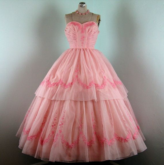 Vintage 1950s Prom Dress // Pink Embroidered Organza Prom Dress // 6 ...