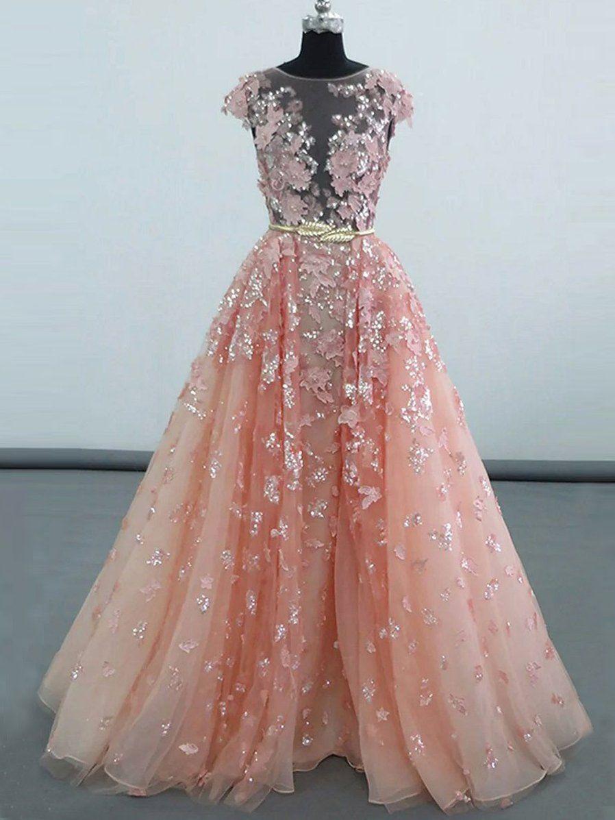 Luxury prom dresses scoop short train pearl pink chic prom dress