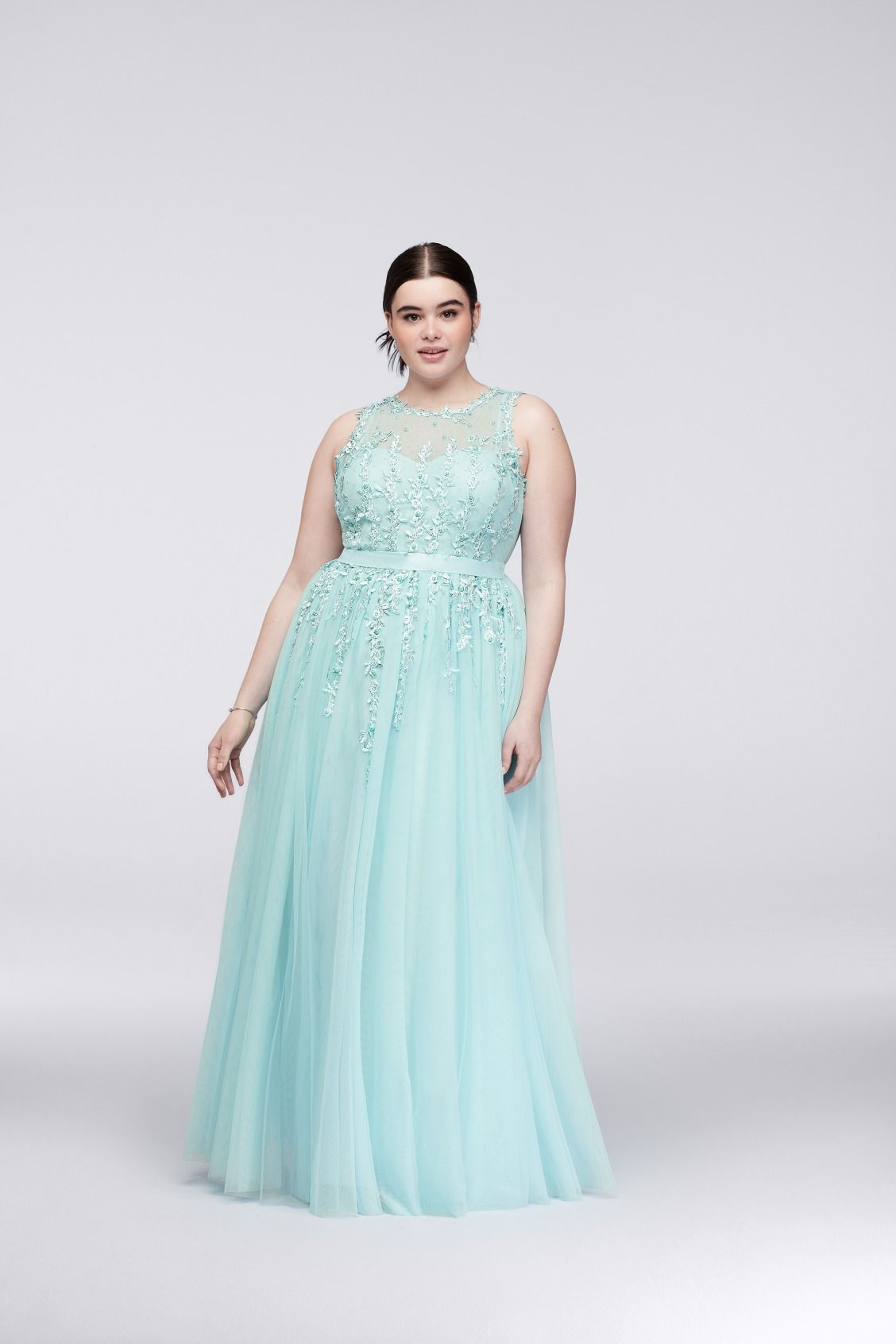 Illusion Bodice Teal Plus Size Prom Dress with Trailing Lace by City ...