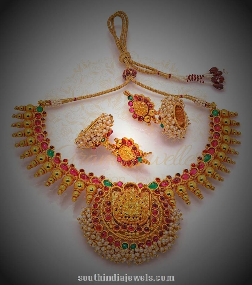 Temple Jewellery Necklace set with Jhumkas   Temple, Jewel and Chains
