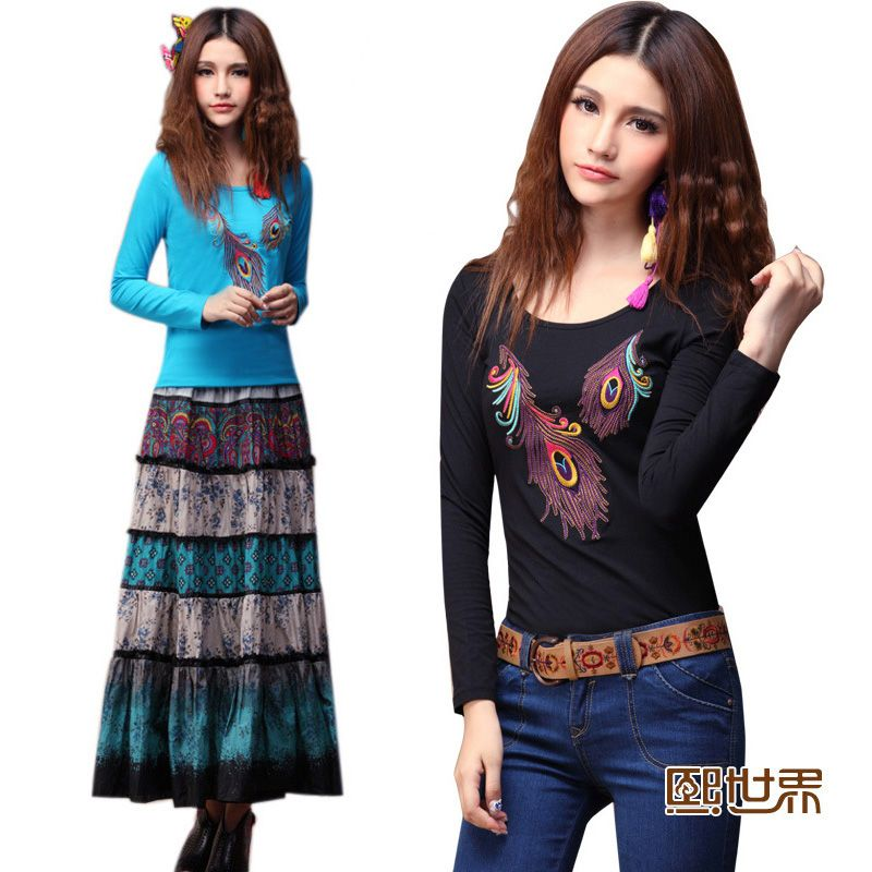 2013 spring clothing new dress hee world embroidery cultivate one's morality show thin new increase code long sleeve T-shirt unlined upper garment to render 010