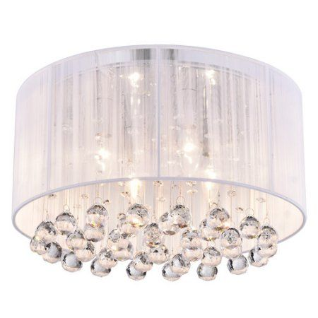 Home Flush Mount Chandelier Hanging Crystals Drum Shade