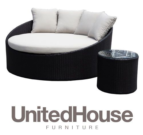 Terrific Wicker Outdoor Round Day Bed Sun Lounge Pool Patio Deck Interior Design Ideas Inesswwsoteloinfo