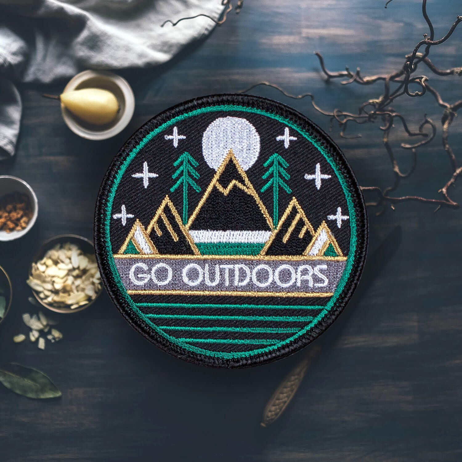 Go Outdoors Hiking Patch | Embroidered | Patches for Jackets
