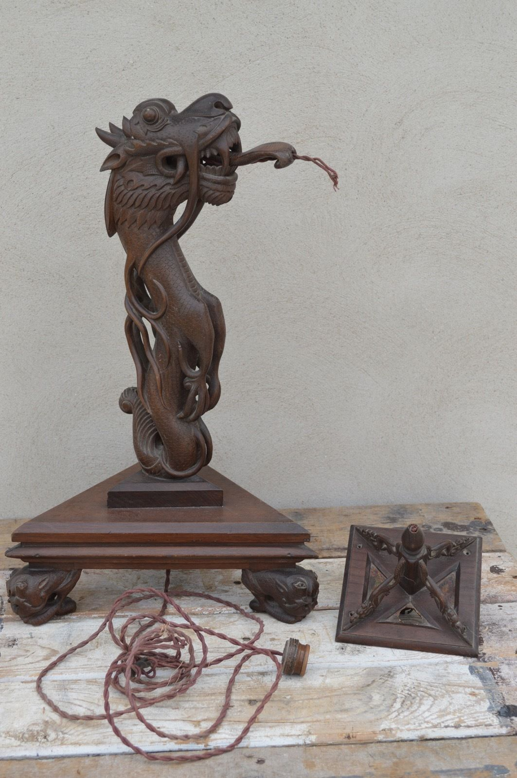 Antique vintage carved wooden chinese dragon table lamp needs re antique vintage carved wooden chinese dragon table lamp needs re wiring in antiques asian aloadofball Choice Image