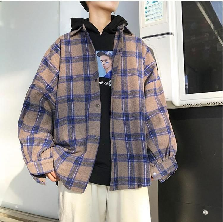 VINTAGE PLAID MEN SHIRT - Blue / M