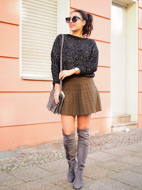 overknees and skater skirt miniskirt dorothy perkins overknee boots grey suede zara wollrock. Black Bedroom Furniture Sets. Home Design Ideas
