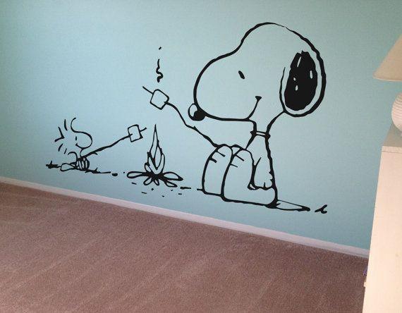 snoopy murals on walls | Snoopy Peanuts Wall Decal Vinyl Wall Decor Kids Wall Art Nursery Decal