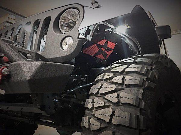 Crawler Conceptz Inner Fender Installed On 2014 White Jeep Wrangler Jk At Offroad Elements White Jeep Wrangler White Jeep Jeep Fenders
