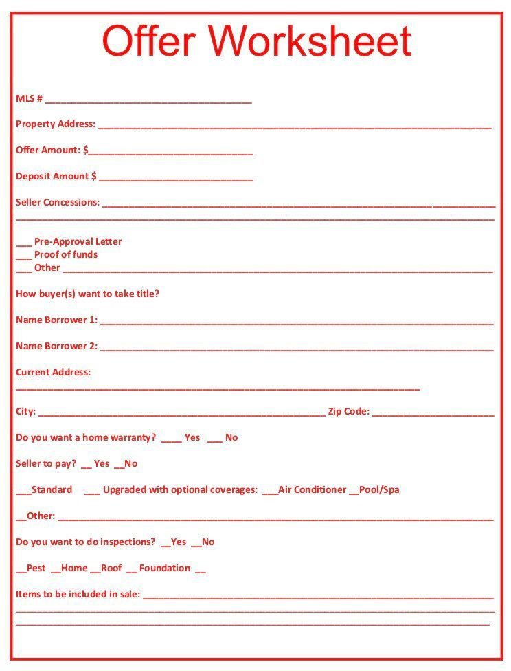 Offer Worksheet Red by ez2close on Etsy https//www.etsy