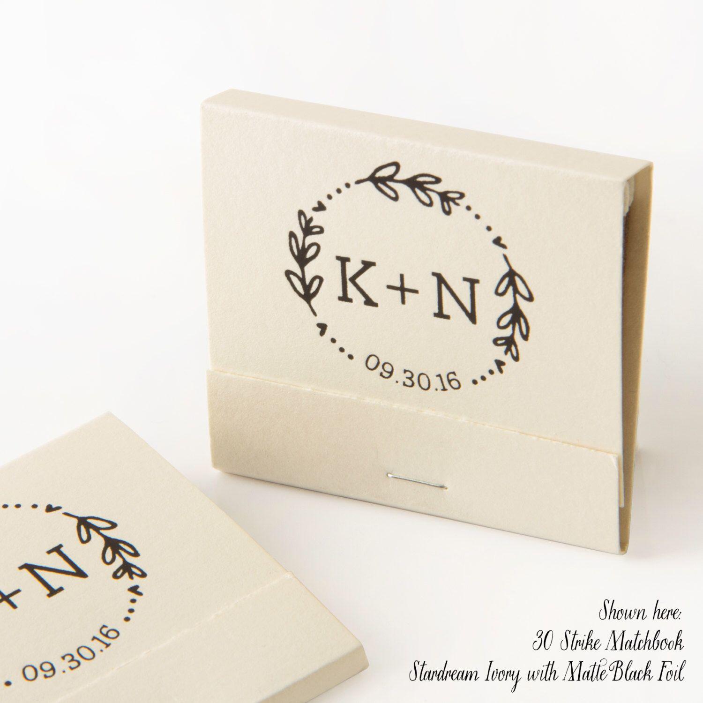 DATE WREATH Matchbooks - Wedding Favors, Wedding Matches, Wedding ...