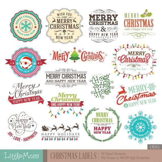 Christmas Labels Digital Clipart Christmas Typographic Christmas