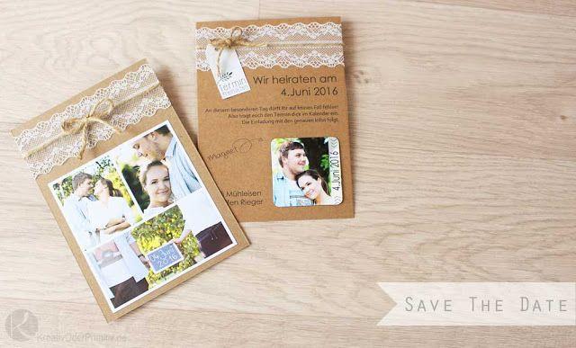 Save The Date Karten Selber Basteln Anleitung Kostenlos Magnet Billig  Günstig DIY Kraftpapier Foto Paketschnur Karte