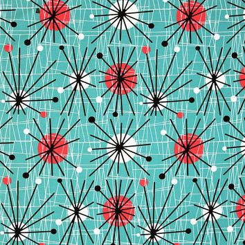Michael Miller Mid Century Modern Atomic Turquoise Cotton Fabric 1 2 Yard