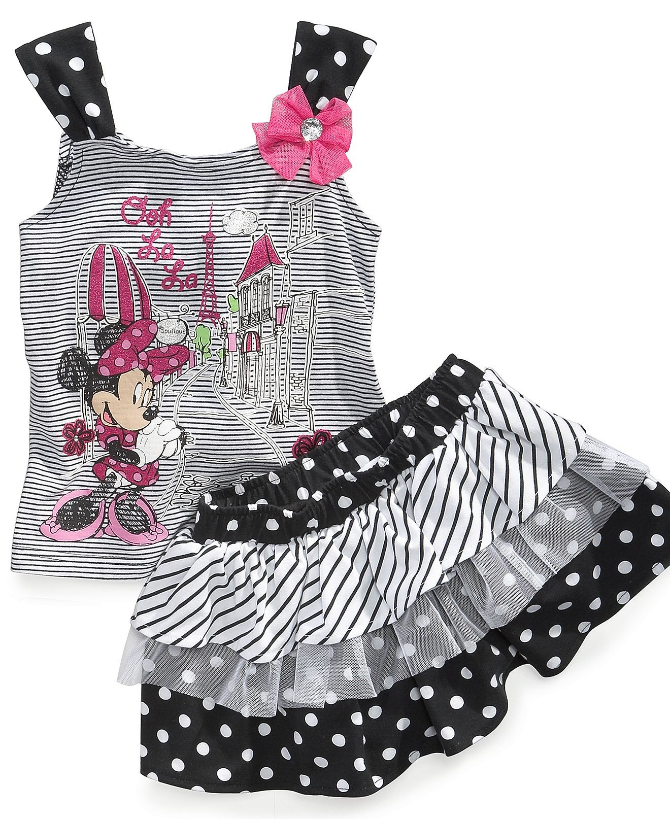 Nannette Baby Set Baby Girls Minnie Mouse Tank Top And