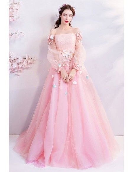 Fairy Pink Butterfly Off Shoulder Poofy Prom Dress With Long Sleeves Wholesale #T69173 - GemGrace.com