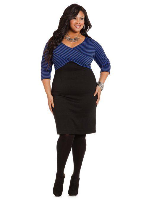 amazon: ashley stewart women's plus size striped-top sheath