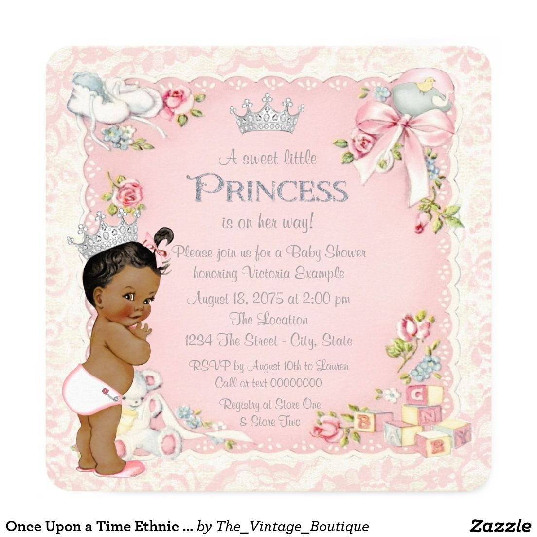 Once Upon a Time Ethnic Princess Baby Shower Card | Princess baby ...