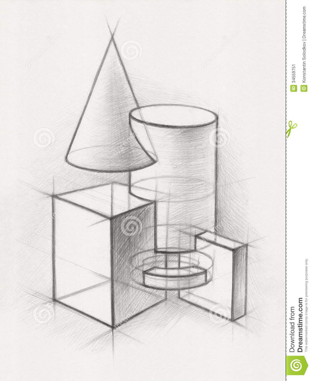 3d Shape Line Drawings : Solid geometric shapes illustration pencil drawing