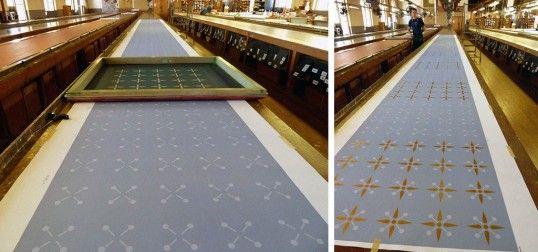 Handprinting papers in Bradbury's factory   Photo by Celine Damonte #bradburywallpaper