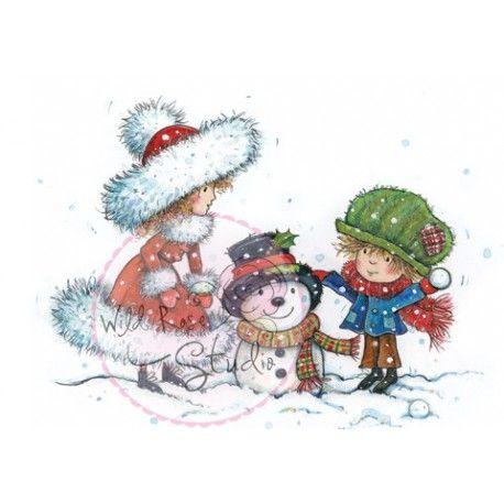 Tampon dessin wild rose studio fille et gar on bonhomme de neige hiver saison hiver - Bonhomme fille ...