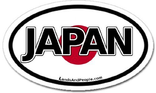 Japan and Japanese Flag Car Bumper Sticker Decal Oval ...