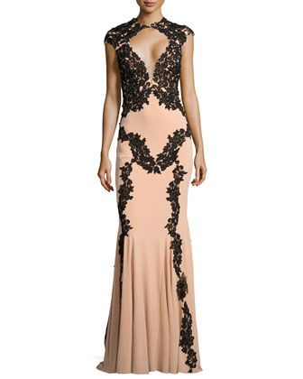 Illusion Bust Lace Trim Gown By Jovani At Neiman Marcus