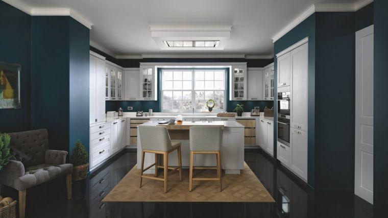 Sedie Blu Cucina : Idea per costruire cucina in muratura struttura blu notte ante