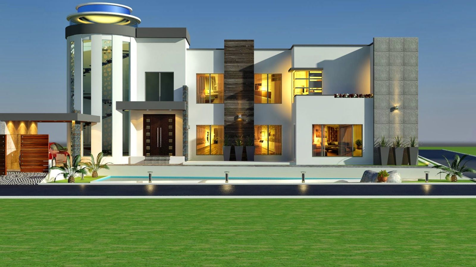 Villa house 2014 3d front elevation kanal modern for Modern house designs 3d