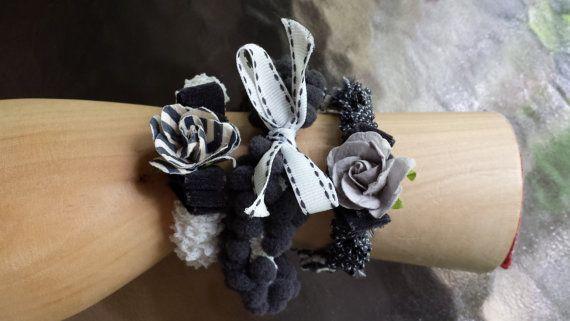 Boho Style Elastic Trim Bracelets 3 Black by InterferenceChannel, $16.00