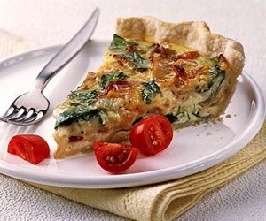 Spinach & Bacon Quiche. No time to make your own pastry? Use a rolled refrigerated, unbaked pie crust instead to speed up the preparation time for this delicious breakfast pie.