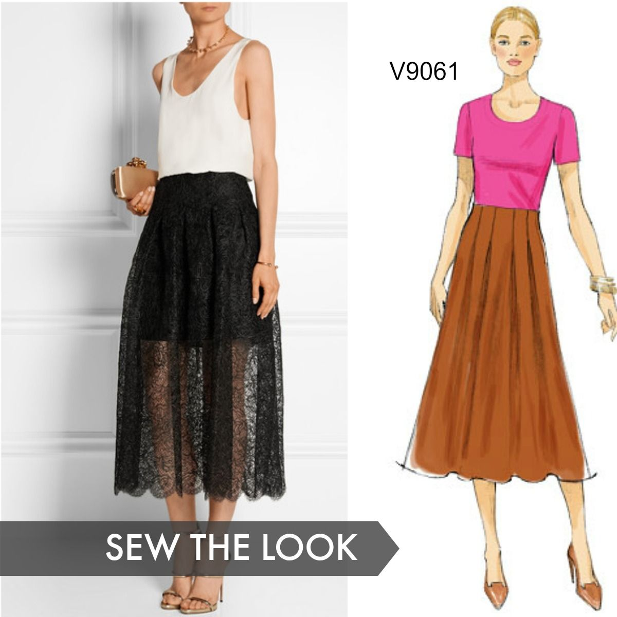 Sew the Look: We love this Oscar de la Renta lace midi skirt with a ...