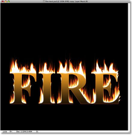 The text and the flames now appear blended together  Image