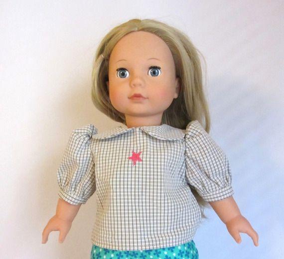 Habit de poupée   Robe verte et chemisier gris pour poupée Gotz, Précious  Day 46 cm 7c1058f38df
