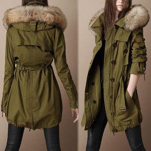 Womens Army Green Real Fur Collar Long Jacket Coat Parka Padded