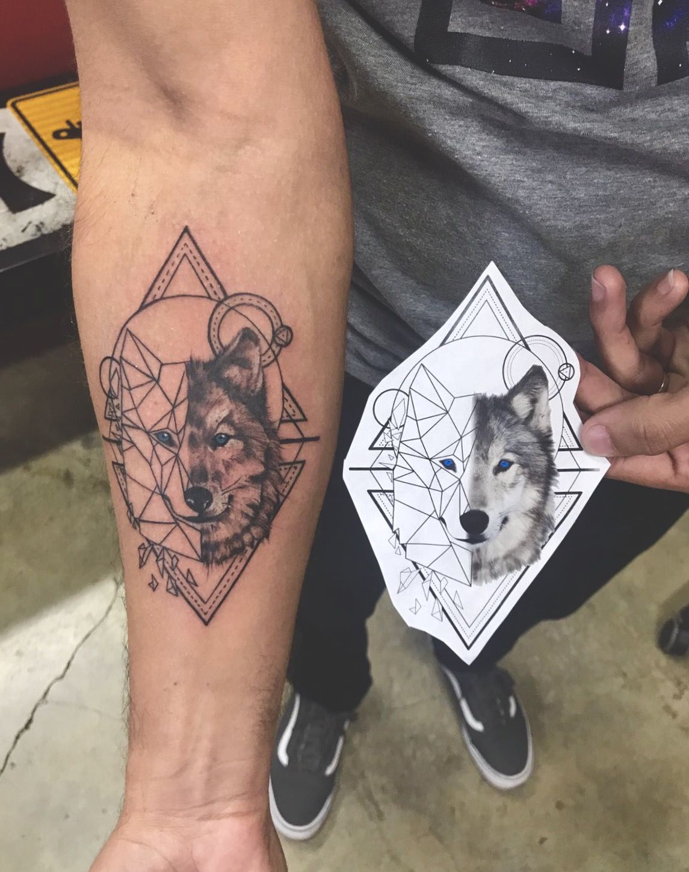 Geometric Wolf Tattoo Geometric Wolf Tattoo Tattoos For Guys Wolf Tattoo Design