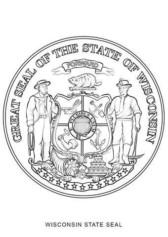 Wisconsin State Seal Coloring Page From Wisconsin Category Select From 24873 Printable Crafts Of Cartoons N Flag Coloring Pages Wisconsin Flag Coloring Pages